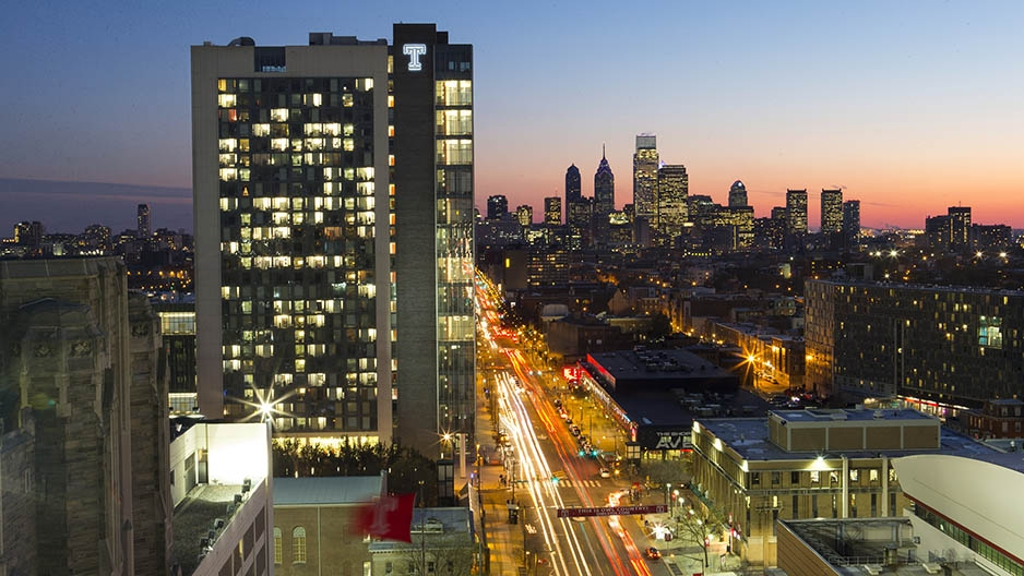 Morgan Hall, Temple University's newest and largest residence hall, and the Philadelphia skyline