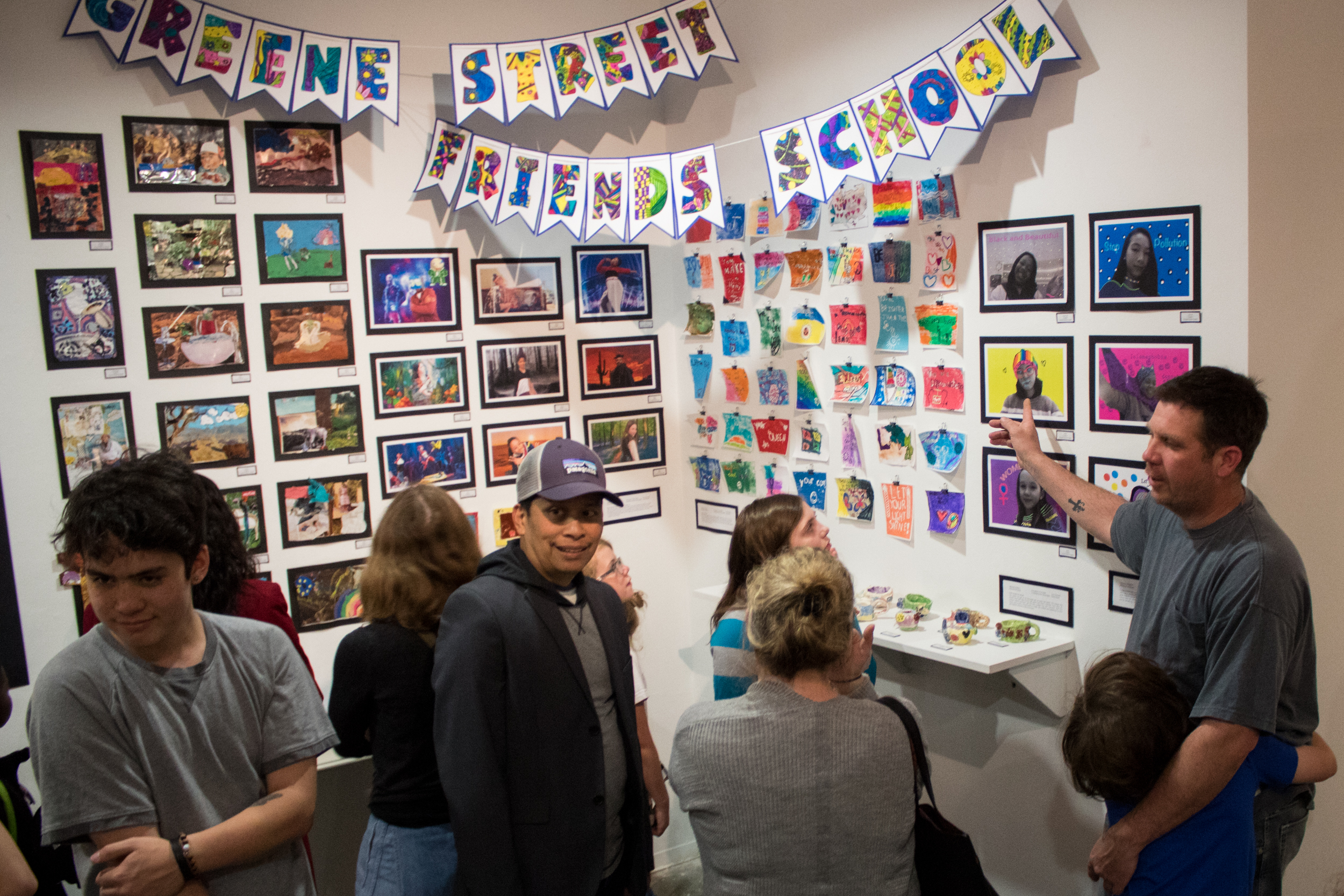 Families and students enjoy the Spring 2019 Art of Student Teaching Exhibition