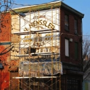 Henssler sign with scaffolding