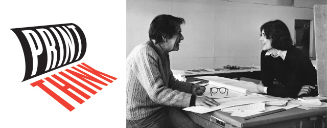 John Cage with Kathan Brown in the Crown Point studio, 1982.