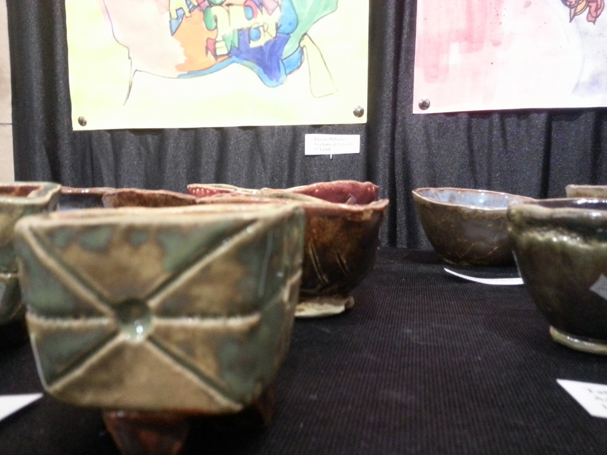 student-created ceramics at Art of Student Teaching Show