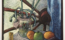 Drawing of a still-life in colored pastels
