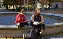 Philadelphia Sketchbook students sit and draw in Rittenhouse Square