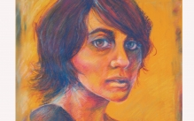 Colorful pastel drawing of a female portrait.