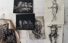 Collection of figure drawings of female and male nude models.