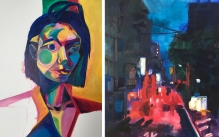 Two brightly colored abstract paintings. One of a portrait of a woman, the other of a nighttime cityscape.