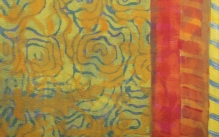Detail image of a colorful dyed and screen printed silk scarf.