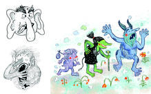 Illustration of several characters by the course instructor.