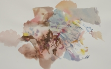 Abstract landscape watercolor painting in pinks and corals.