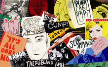 Collage of screen prints, drawing, and vintage punk rock album covers.