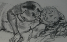 Charcoal drawing of a male figure model in a lying position.