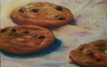 Color pastel drawing of chocolate chip cookies