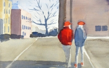 Water color painting of two figures walking in a parking lot on a cold day