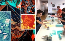 The one on the left is of multiple wood block prints done in vibrant colors. The one on the right is a photo of students working with inks in the Tyler Printmaking studios.