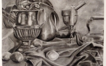 Charcoal drawing of a still life with fabric, and lemons and metal vases.