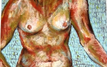 Colorful oil-pastel drawing of a nude female torso.