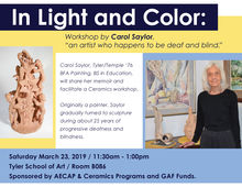 Flyer for Carol Saylor workshop, featuring a photo of Saylor and her ceramic sculpture.