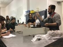 Mathew Day Perez giving a mold making demo.