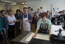 Dan Clayman in print studio