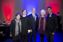 Pepón Osario poses with (left to right) Dean Susan Cahan, Frances Wolf, Gov. Tom Wolf, Dr. Lisa Kay