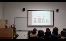 John Drury presenting his lecture to students.