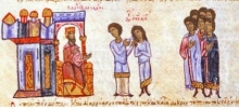 Emperor Basil ordering the hair of his son to be cut, Madrid Skylitzes, ca. 1100