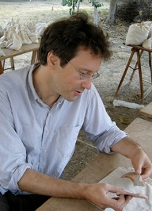 Dr. Sebastian Heath working on amphorae