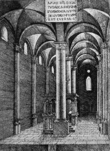 interior of Regensburg Synagogue, Abrecht Altdorfer, 1519