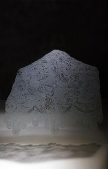 art piece made of sandblasted glass