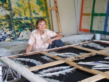 Dona Nelson with painting