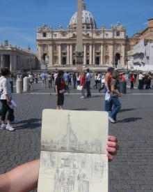 Sketchbook with sketch in front of St. Peter's in Rome