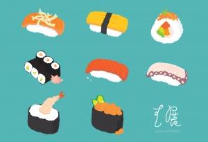 Student work by Yumiha Yano, Sushi