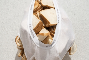 Hanes White Briefs filled with Sliced Bread
