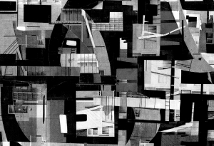 black & white collage; Dorothy Scholnick