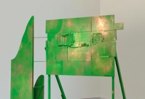 Wood, Plexiglas, hardware, enamel, and green spray painted free standing sculpture