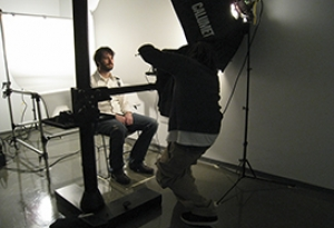 student is photographed in lab
