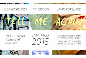 Poster for Tell Me Again exhibiton