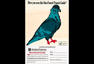 Postcard featuring a one-footed pigeon