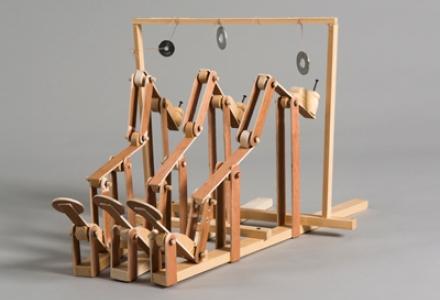 wooden mechanical sculpture