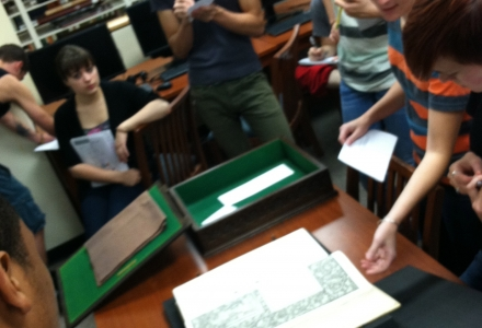 Suzanne Willever's class in Paley's Special Collections