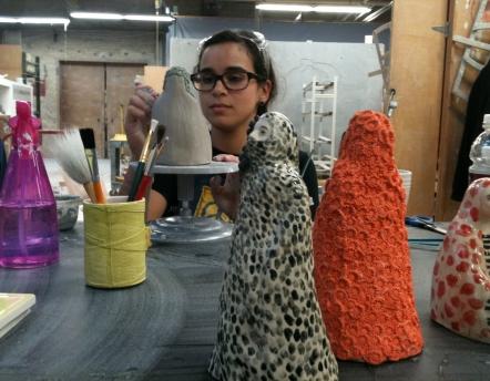 victoria working in studio