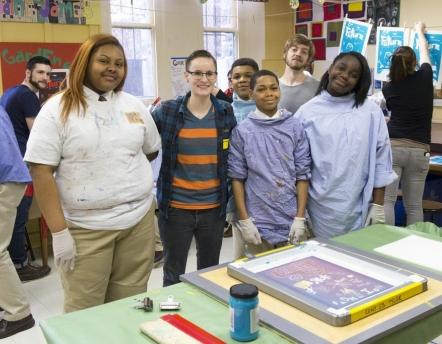 MFA Student Nikki Eastman's group of St. James students