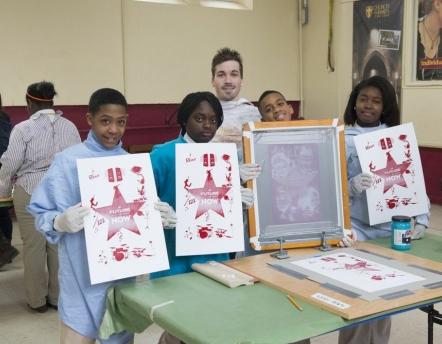 MFA Student Zan Barnett's group of St. James students