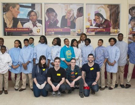 group of 14 St. James School Seventh Graders with Grad Mentors
