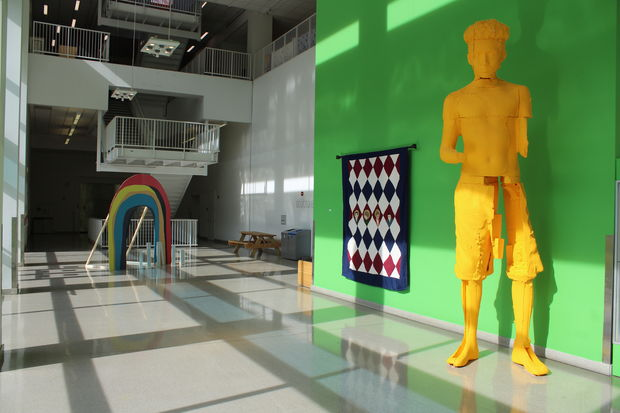 "Tyler BFA Juan Hurtado Salazar's yellow sculpture entitled ""David el Primero (Prototype for a Deployable Monument)"""