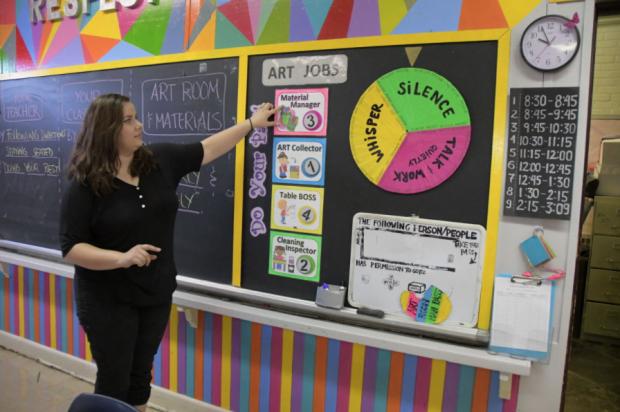Margarita Logvinov teaches in her classroom