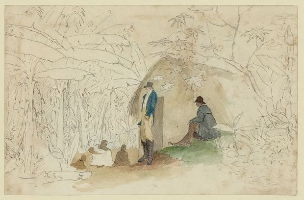 William Berryman Hut with Figures in Plantain Walk 1803-1816
