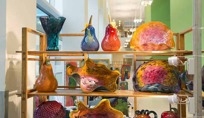 colorful glass work by alum at Art Market