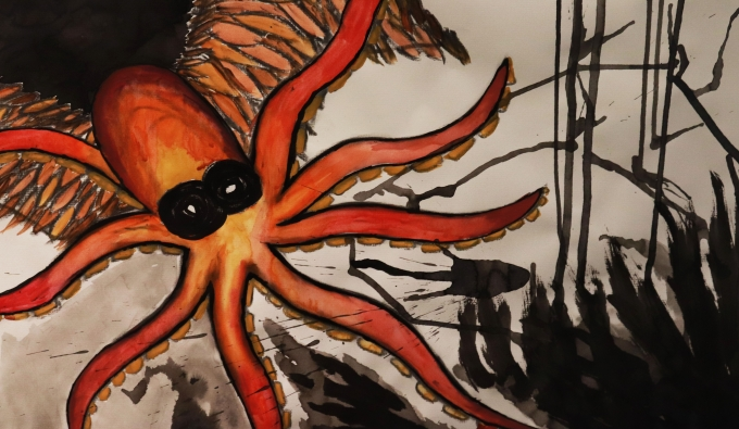 Red and orange octopus in sea of darkness