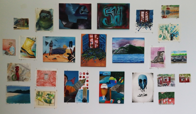 Wall of colorful Acrylic & Watercolor paintings